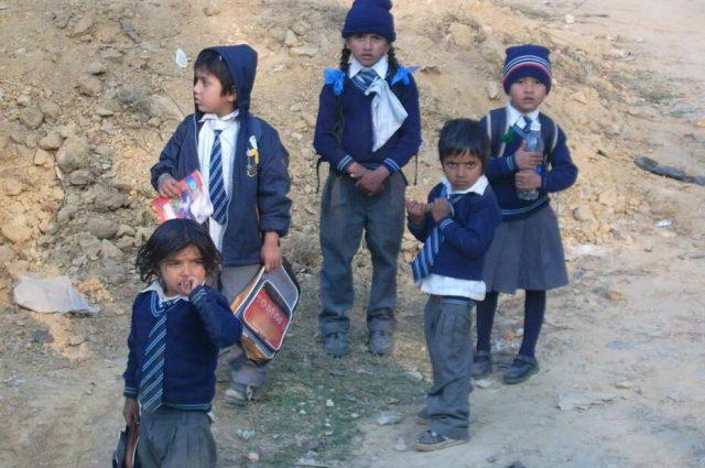 Children on their way to school, Baireni Nepal